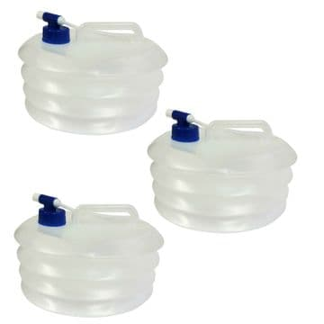 3 x 5 Litre COLLAPSIBLE FOLDING WATER CARRIER FOOD SAFE CONTAINER camping